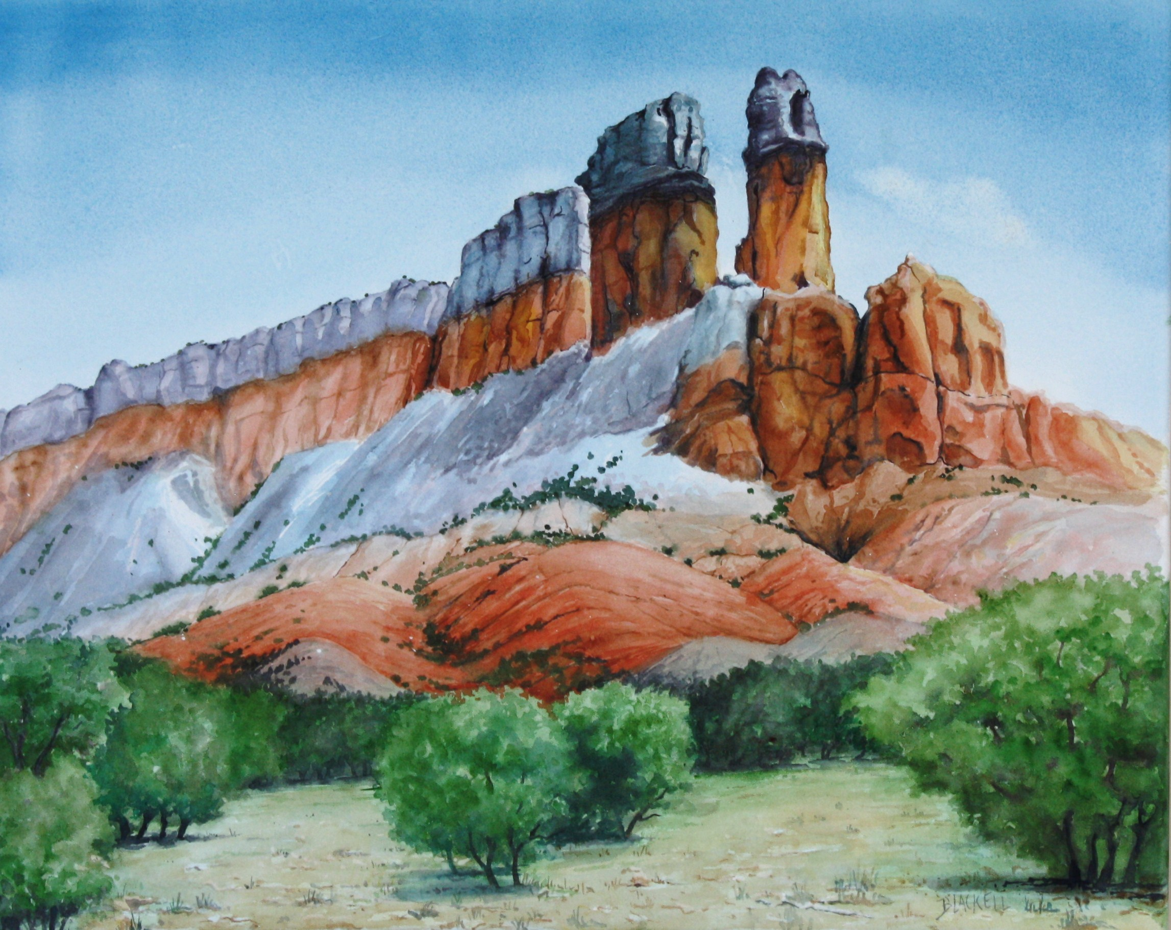 "THE CHIMNEYS/at Ghost Ranch,NM / watercolour/ size 16"" x 20"""