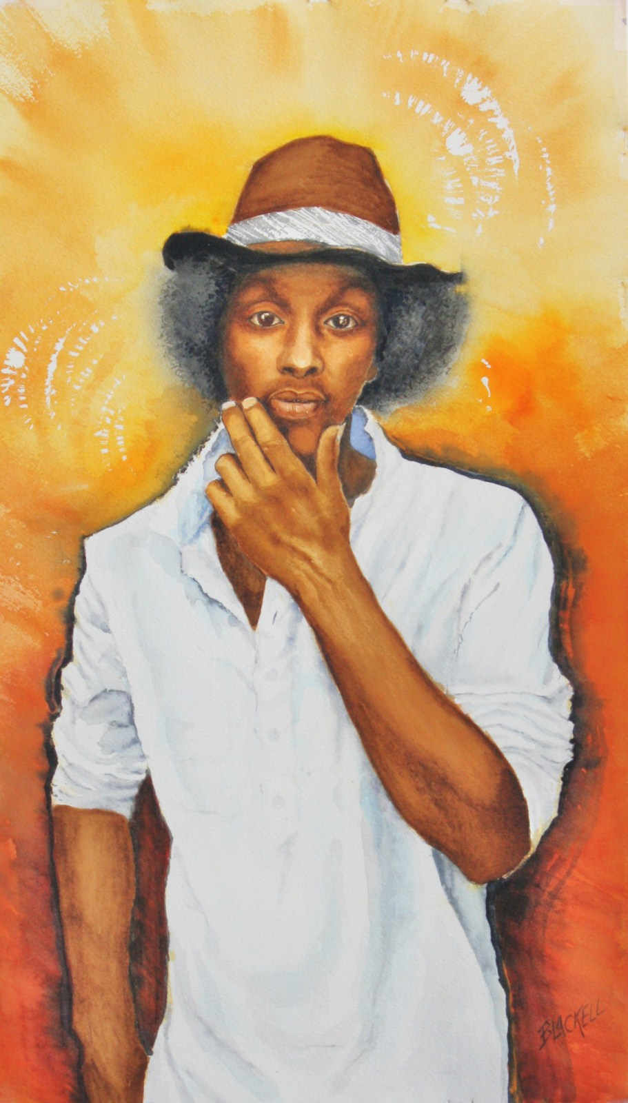 "K'naan, a Samali Canadian poet,rapper,song writer/ watercolour,size 22"" x 13""/NFS"