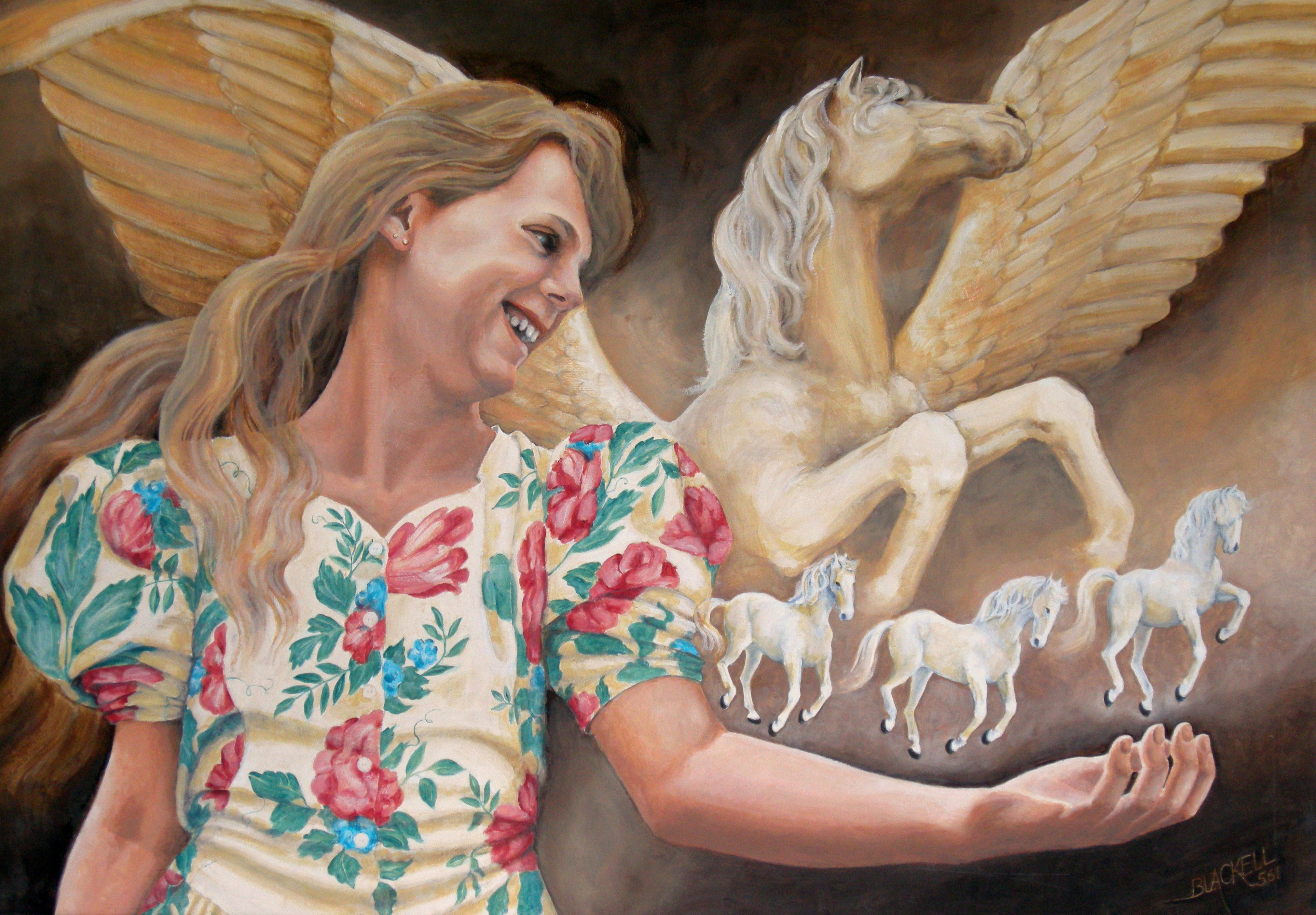 "Lisa and the Spirit of Pegasus/ imaginative art series/ Oil/ Size 24"" x 34"""