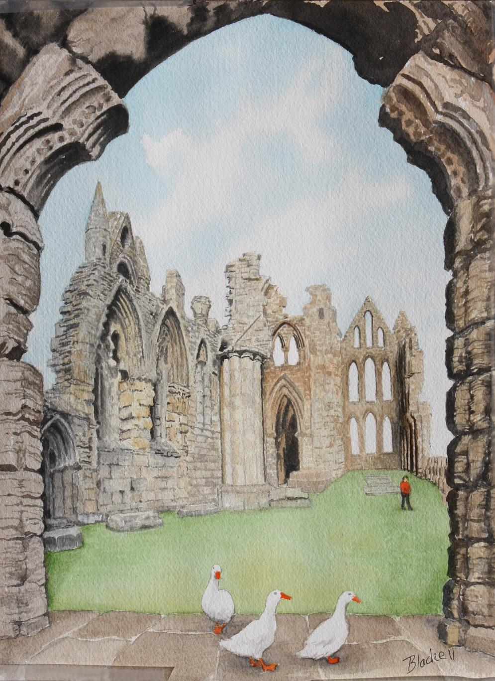 "WHITBY ABBY/Yorkshire series/ watercolour/ size 11""x 9"""