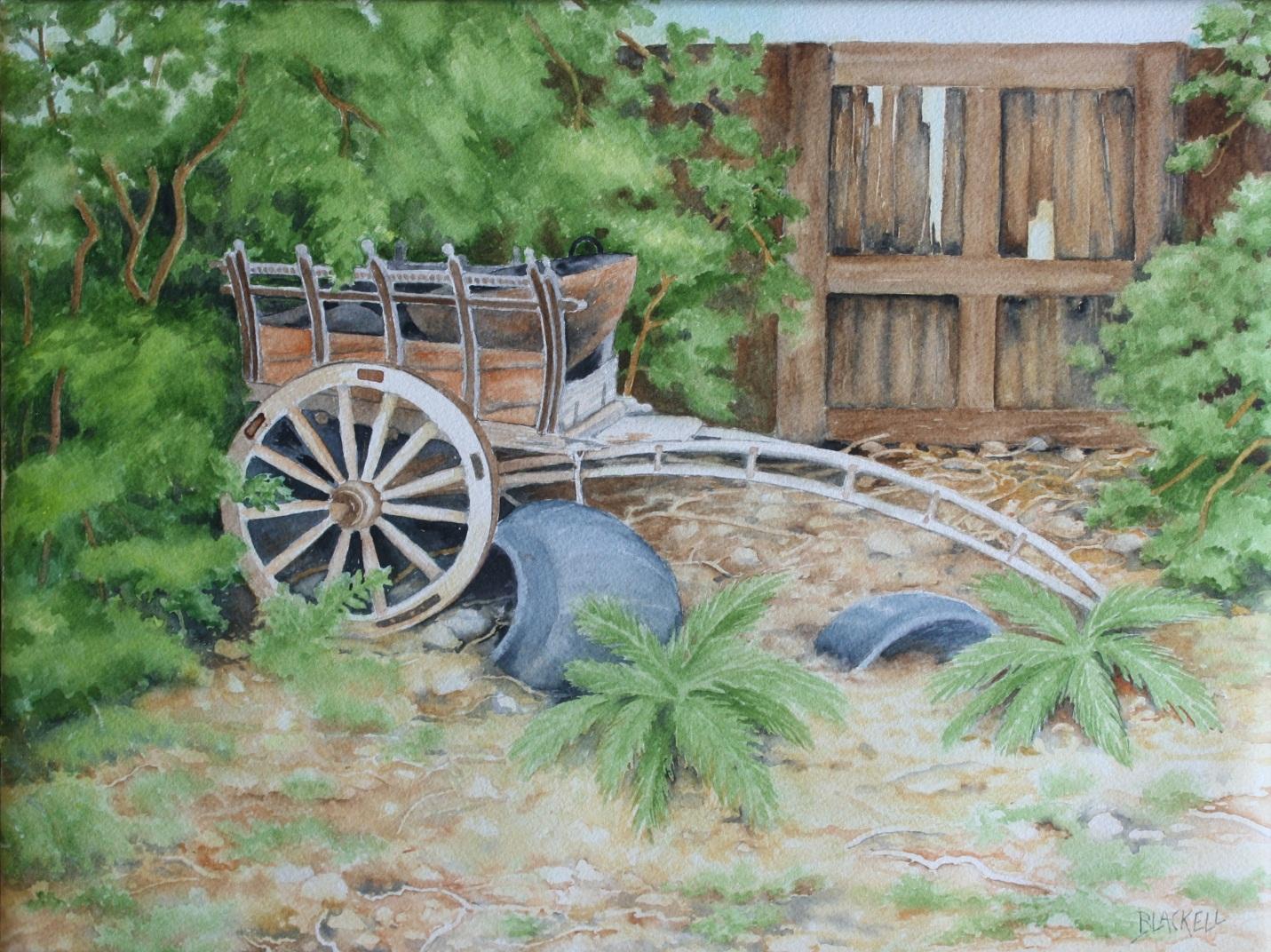 "OLD CART/in a Santa Fe junk yard/watercolour/ 12"" x 16"""