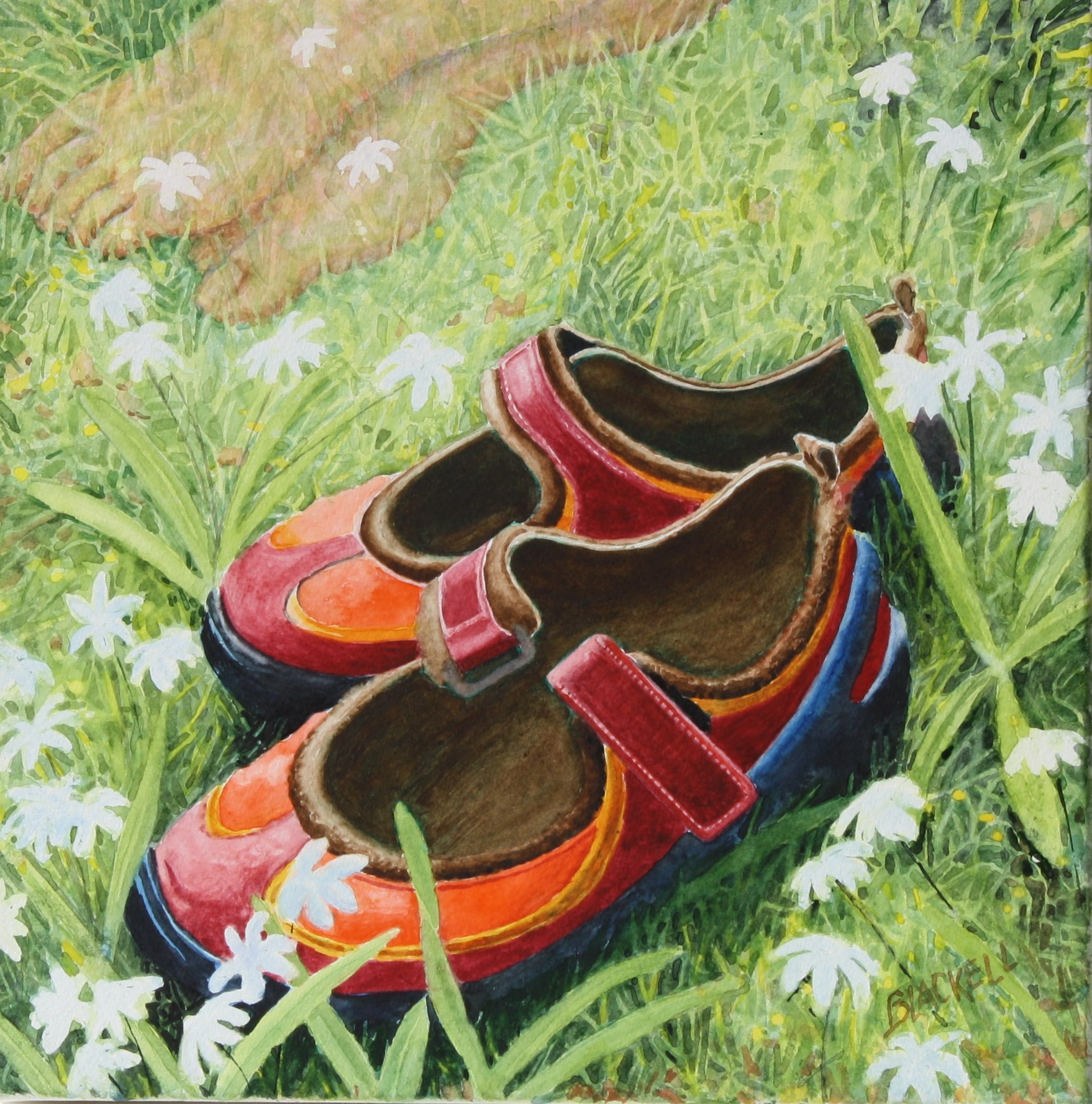 """SPRING!/the joy of taking off one's shoes for the first time after a long winter/ watercolour/ size 12"""" x 12"""""""