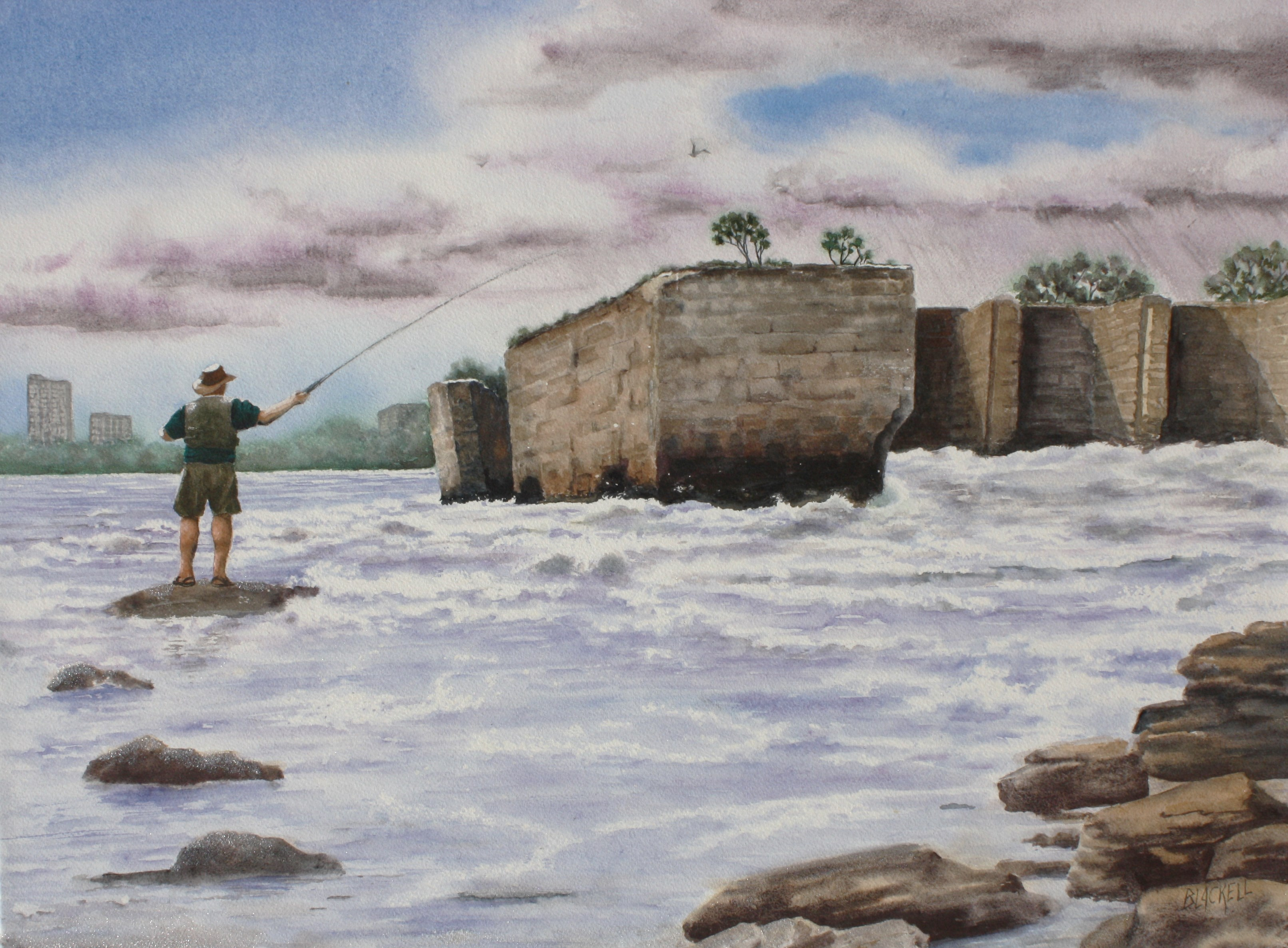"FISHING AT THE OLD HYDRO DAMN/the the Deschenes Rapids series/size 18"" x 24"""