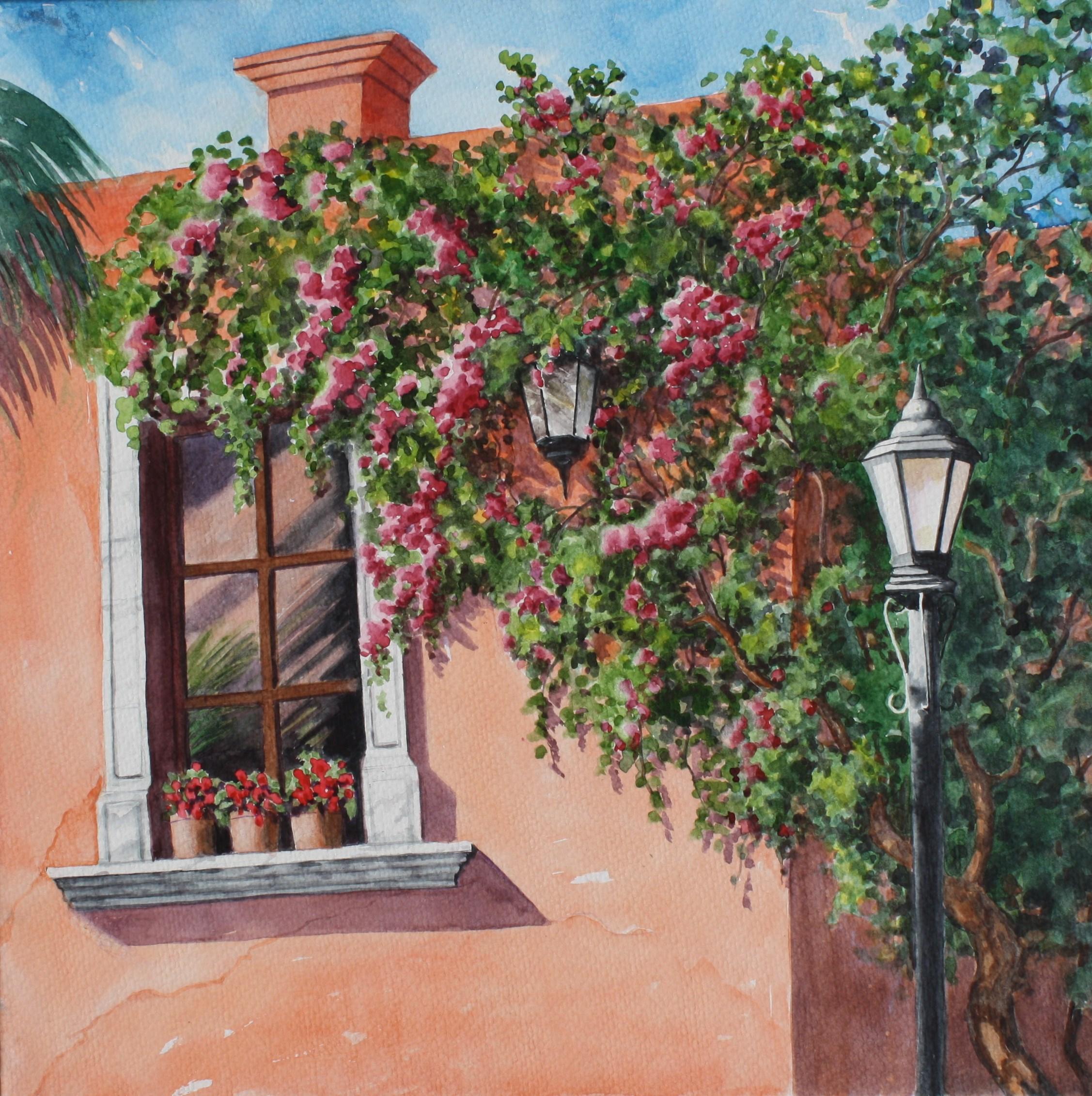 "BOUGAINVILLEA/from San Miguel de Allende/watercolour/size 16"" x16"""
