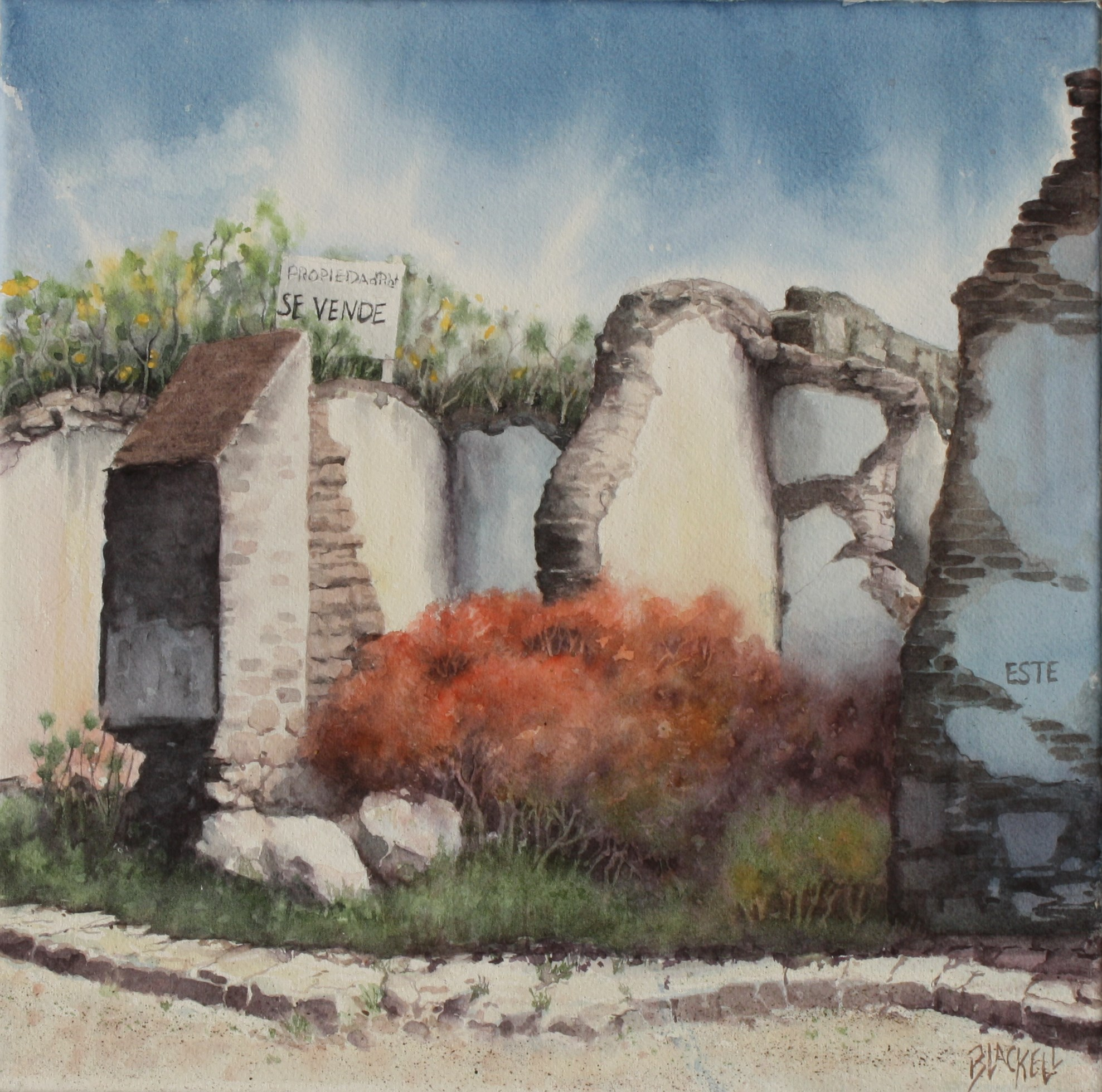 "Ruins from the Spanish Conquest,watercolour, size 12"" x 12"""