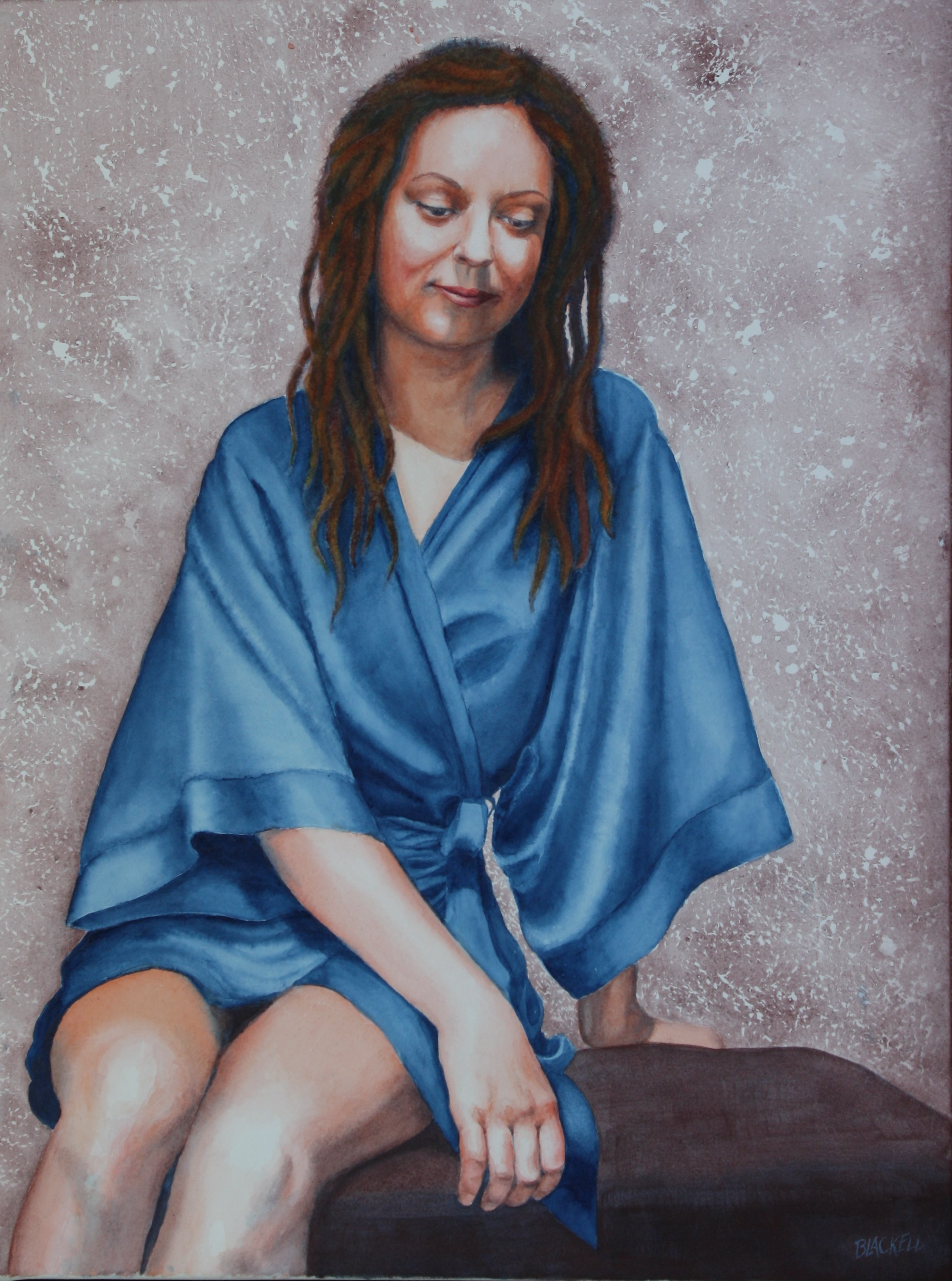 "BLUE ROBE/limited color palette/watercolor/size 24"" x 18"""
