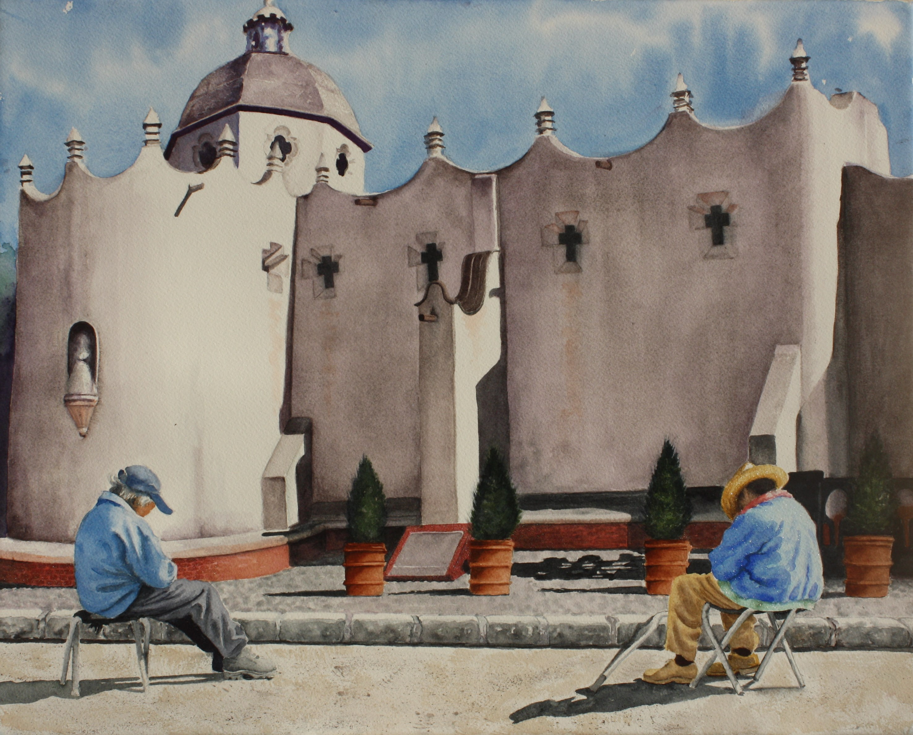 "PILGRIM'S JOURNEY ENDS/ San Miguel de Allende/water media/size 16"" x 20"""