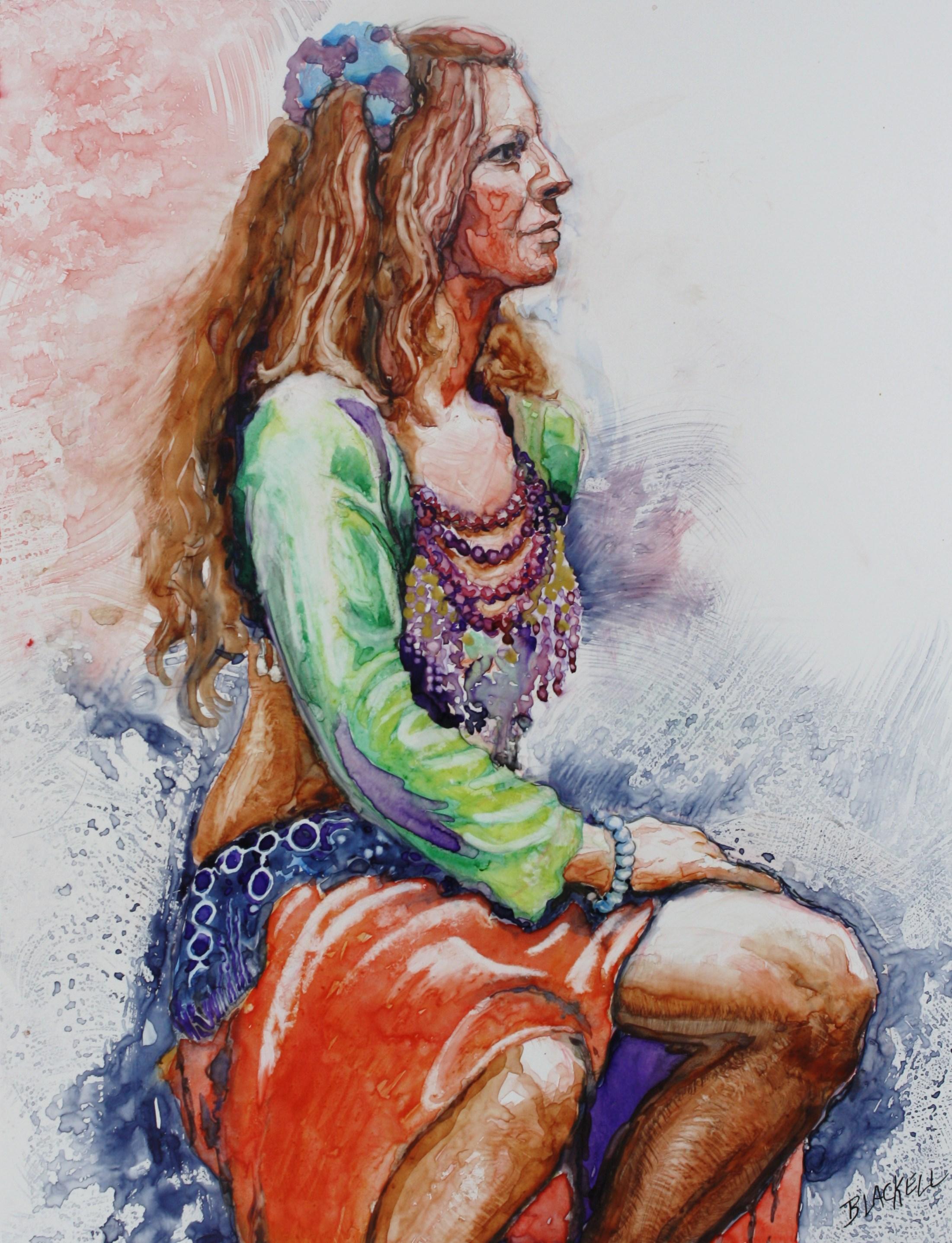 "SITTING DANCER/Watercolour on Yupo/Size 20"" x 16"""