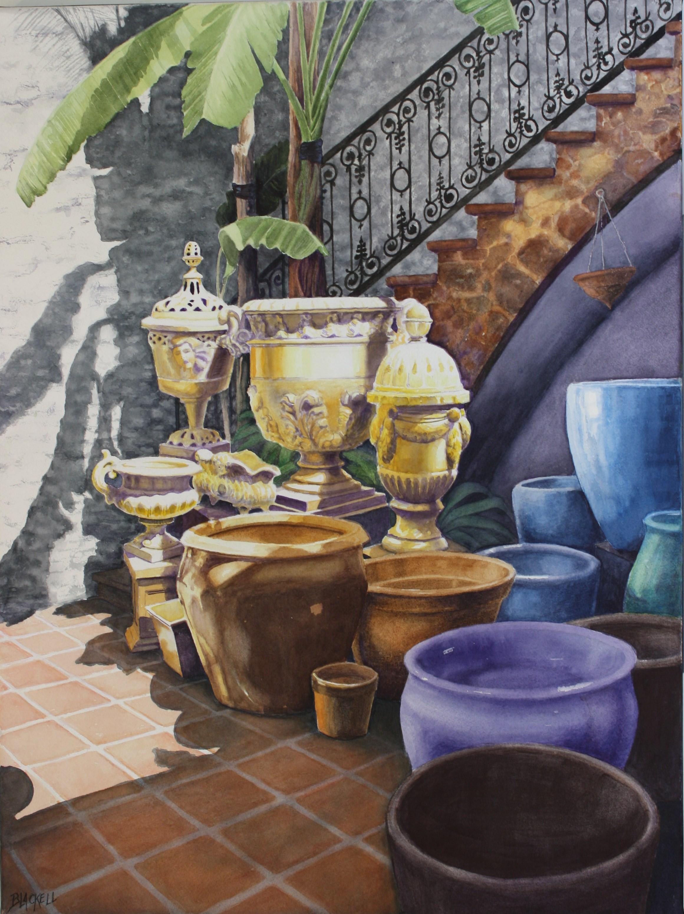 """GARDEN POTS FOR SALE/watercolour/size 24"""" x 20"""""""