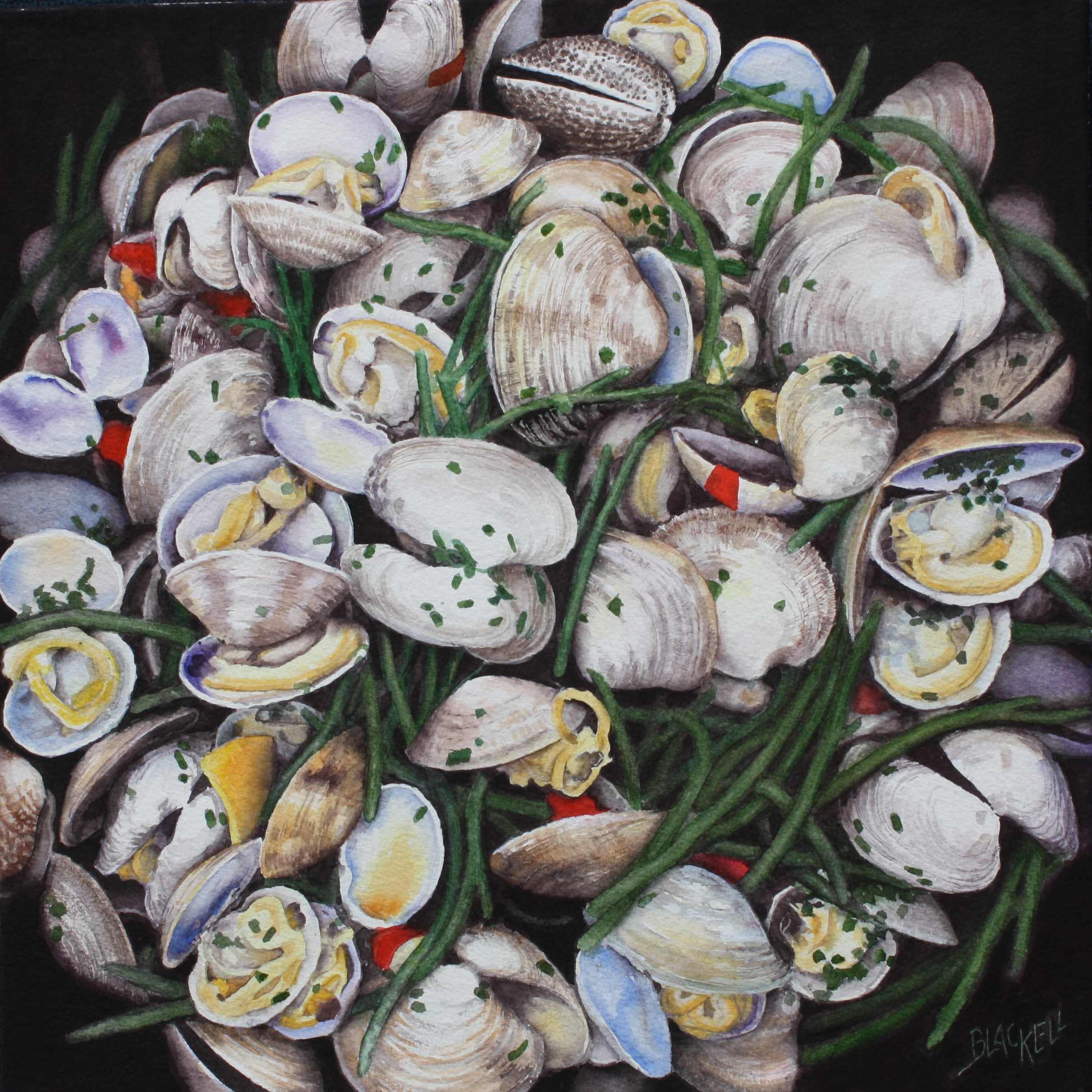 """Clams and Sea Asparagas/watercolour/ size 16""""X16"""""""